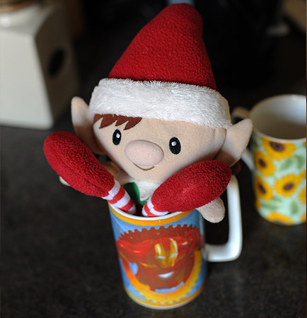 Christmas Elf in Tea Cup