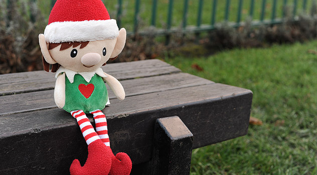 Elf on Park Bench