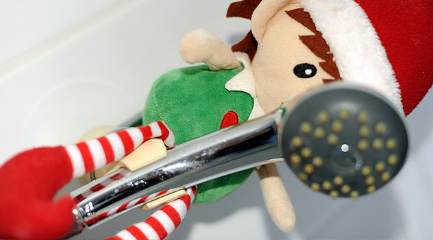 Christmas Elf Hiding in Shower