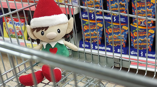 Elf in Supermarket Trolley