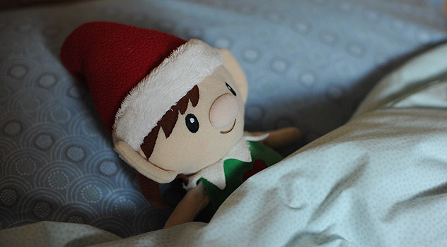 Christmas Elf in Bed