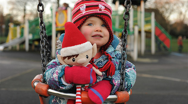 Christmas Elf on Swing