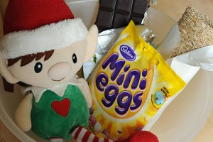 Elfin's Easter visit with ingredients to make shredded wheat nests